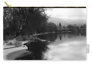 Winter Tree Reflection - Black And White Carry-all Pouch