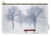 Winter Trees And Bench In Fog Carry-all Pouch by Elena Elisseeva