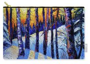 Winter Woodland Sunset Modern Impressionism Palette Knife Oil Painting Carry-all Pouch