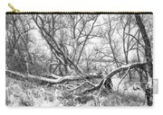 Winter Woods On A Stormy Day 2 Bw Carry-all Pouch
