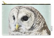 Winters Owl, Barred Hoot Owl Winter Snow Falling Carry-all Pouch
