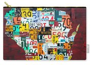 Wisconsin Counties Vintage Recycled License Plate Map Art On Red Barn Wood Carry-all Pouch