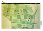 Wisconsin Map Square Cities Straight Pin Vintage Carry-all Pouch