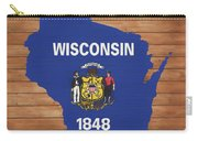 Wisconsin Rustic Map On Wood Carry-all Pouch