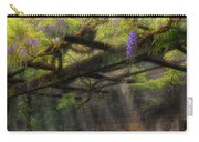Wisteria Flowers Blooming On Trellis Over Water Fountain Carry-all Pouch