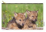 Wolf Cubs On Log Carry-all Pouch