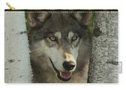 Wolf In The Birch Trees Carry-all Pouch