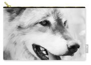 Wolf Smiling Black And White Carry-all Pouch