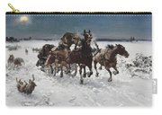 Wolves In Pursuit By Alfred Wierusz-kowalski 1849-1915 Carry-all Pouch