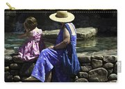 Woman And Child At Pond Carry-all Pouch