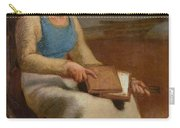 Woman Carding Wool Carry-all Pouch