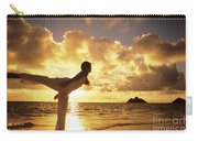 Woman Doing Yoga On Golden Beach Carry-all Pouch