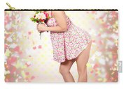 Woman Holding Flowers In Hands. Spring Celebration Carry-all Pouch