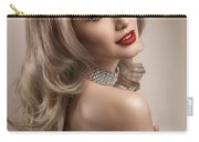 Woman In Big Curls Hollywood Glam Look Carry-all Pouch
