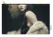 Woman In Black Avant-garde Attire With Butterfly Headdress Carry-all Pouch