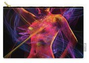Woman In Colorful Body Paint With Light Streaks Carry-all Pouch