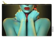 Woman In Cyan Body Paint With Curly Hairstyle Carry-all Pouch