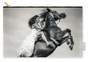 Woman In Dress Riding Chestnut Black Rearing Stallion Carry-all Pouch