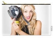 Woman In Fear Holding Gas Mask On White Background Carry-all Pouch by Jorgo Photography - Wall Art Gallery