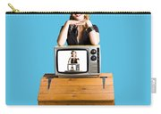 Woman  In Front Of Tv Camera Carry-all Pouch by Jorgo Photography - Wall Art Gallery