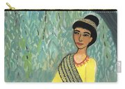 Woman In Grey And Yellow Sari Under Tree Carry-all Pouch