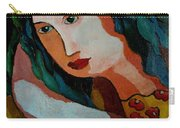 Woman In Orange And Blue Carry-all Pouch