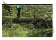 Woman On A Moss Covered Log In Olympic National Park Carry-all Pouch