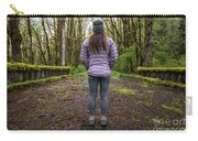 Woman On An Old Moss Covered Bridge In Olympic National Park Carry-all Pouch