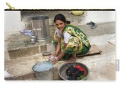 Woman Washing Clothes In Khajuraho Village Carry-all Pouch