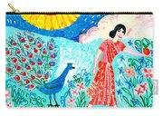 Woman With Apple And Peacock Carry-all Pouch by Sushila Burgess
