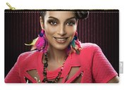 Woman With Floral Headdress In Pink Dress Carry-all Pouch
