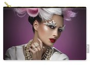 Woman With Pink And White Headpiece In White Dress Carry-all Pouch