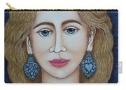 Woman With Silver Earrings Carry-all Pouch