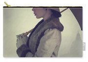 Woman With Vintage Cloche Hat Overcoat And Umbrella In Rain Carry-all Pouch