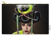 Woman With Yellow Dress With Feather And Leaf Headdress Carry-all Pouch