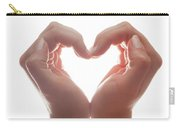 Woman's Hands Make A Heart Shape On White Background, Backlight. Love Carry-all Pouch