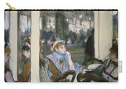 Women On A Cafe Terrace Carry-all Pouch by Edgar Degas