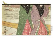 Women Walking Over A Bridge In Snow Carry-all Pouch