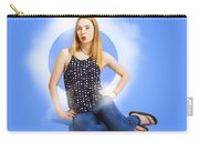 Womens Fashion Pinup Model On Blue Studio Lights Carry-all Pouch