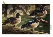 Wood Ducks Posing On A Log Carry-all Pouch