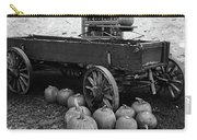 Wood Wagon And Pumpkins Black And White Carry-all Pouch