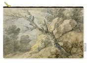 Wooded Landscape With Rocks And Tree Stump Carry-all Pouch
