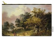 Wooded Landscape With Woman And Child Walking Down A Road  Carry-all Pouch