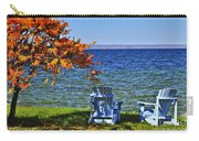 Wooden Chairs On Autumn Lake Carry-all Pouch