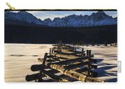 Wooden Fence And Sawtooth Mountain Range Carry-all Pouch