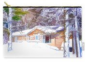 Wooden House In Winter Forest Carry-all Pouch