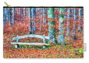 Wooden Park Bench In Dry Leaves  Carry-all Pouch