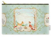 Woodland Fairy Tale - Aqua Blue Forest Gathering Of Woodland Animals Carry-all Pouch