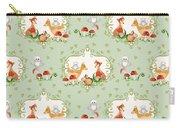 Woodland Fairy Tale - Mint Green Sweet Animals Fox Deer Rabbit Owl - Half Drop Repeat Carry-all Pouch