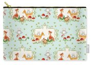 Woodland Fairy Tale - Sweet Animals Fox Deer Rabbit Owl - Half Drop Repeat Carry-all Pouch
